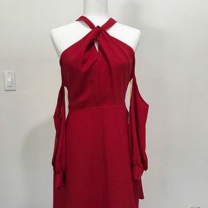 CeCe Halter Lace Back Cold-Shoulder Shift Dress